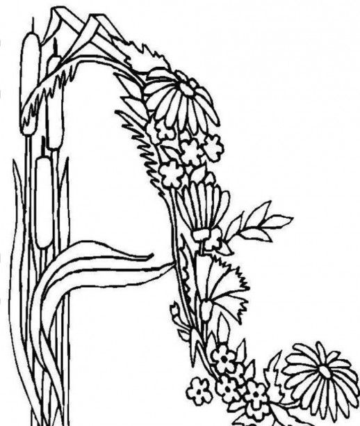alphabet a shaped by flower ribbon coloring pages