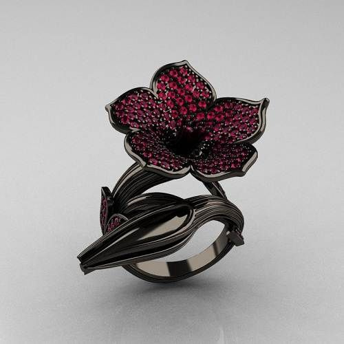 Gothic Wedding Rings | Black Gold Rings With Pink DiamondFashion Female