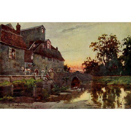 Cambridge 1907 Grantchester Mill Canvas Art - William Matthison (18 x 24)