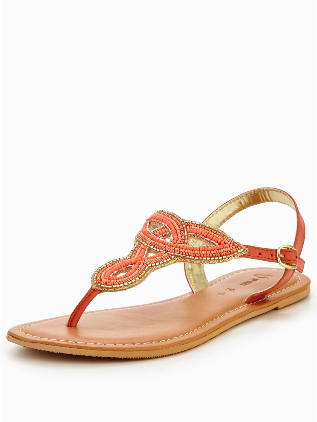 V by Very Melody Embellished Toepost Sandal - Coral, http://www.very.co.uk/v-by-very-melody-embellished-toepost-sandal-coral/1600134606.prd