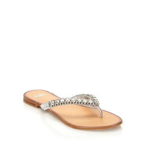 717b80e0bacae Faith Silver Leather Diamante Strap Flip Flops- at Debenhams.com - Possible  wedding flats