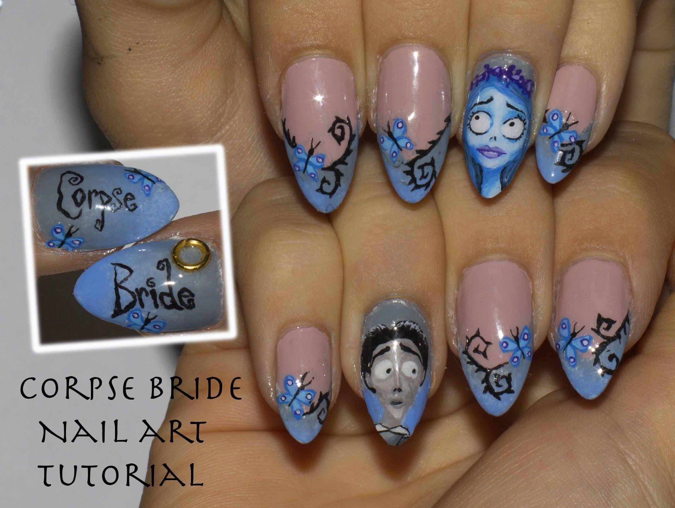 tim burton's corpse bride halloween nail art tutorial + how to make