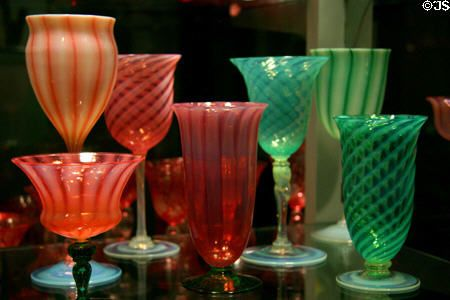 Steuben glass goblet collection at Corning Museum of Glass. Corning, NY.