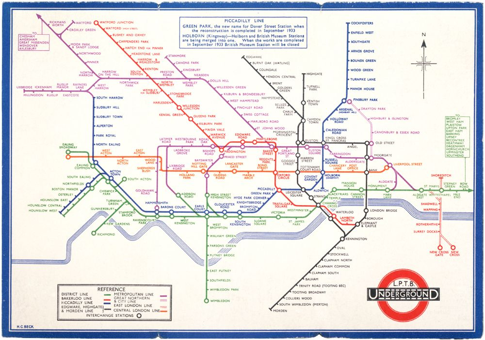 ENGLAND London Underground map 1933 Henry Beck Victoria Albert