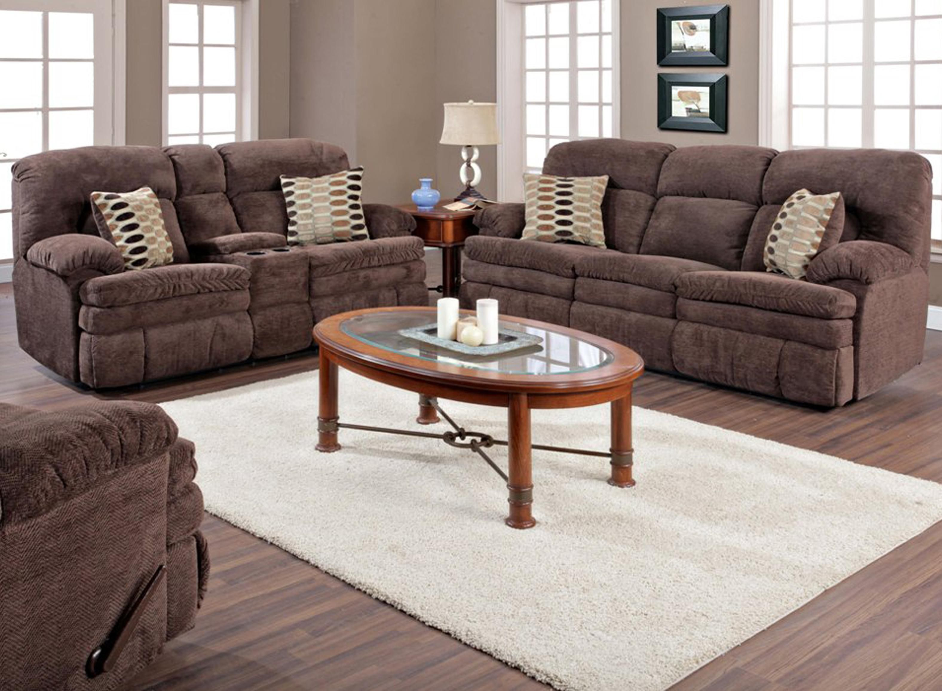 Homestretch Furniture 103 Chocolate Series Featuring Reclining Sectional Sofa Double Reclining