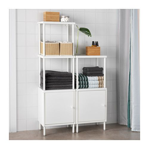DYNAN Shelving unit with 2 cabinets, white | Small bathroom, Doors ...