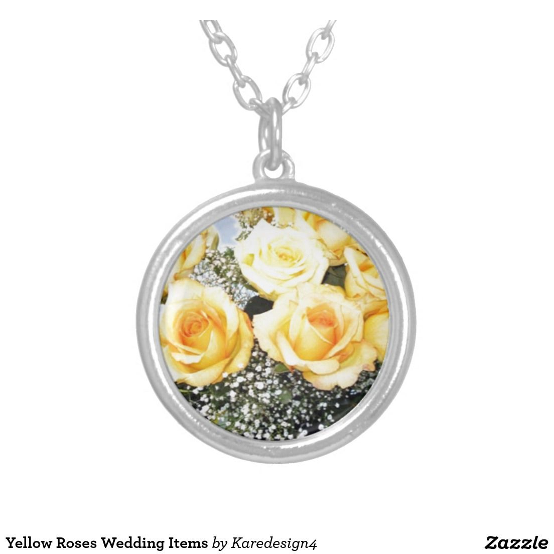 Yellow Roses Wedding Items Round Pendant Necklace Motherus Day