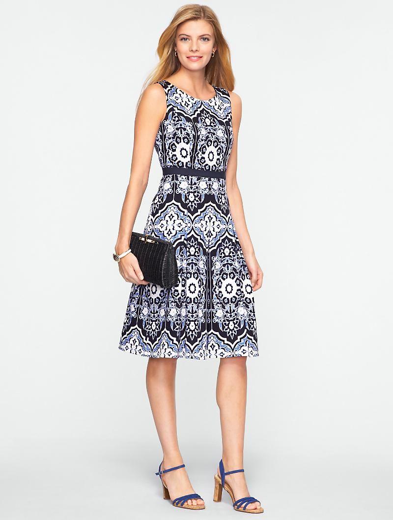 Talbots Flower Mosaic Dress Dresses Petites Mosaic Dress Dresses Clothes For Women [ 1057 x 800 Pixel ]