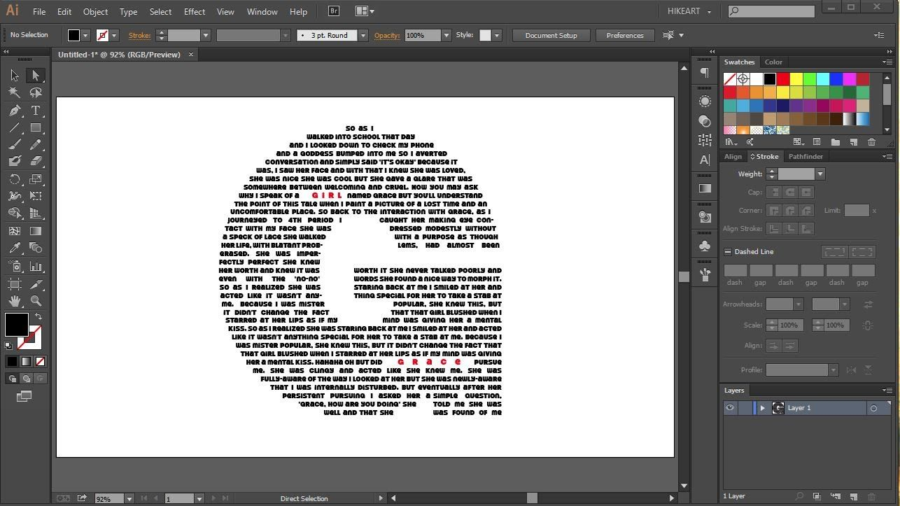 How To Fill A Character With Text In Adobe Illustrator Graphic Design Tutorials Learning Graphic Design Graphic Design Class