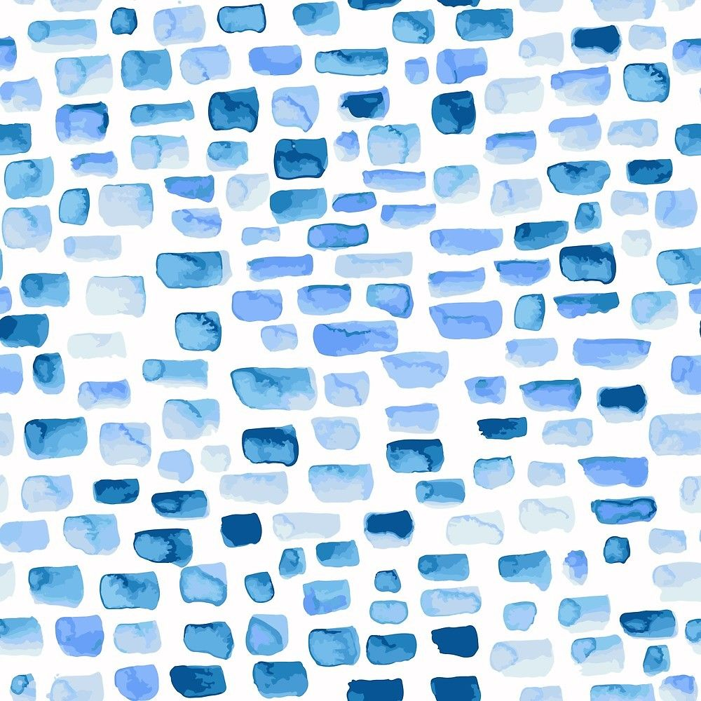 Blue Bricks Watercolour Pattern By Saryandsaff Redbubble