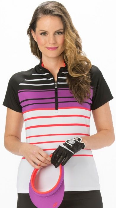 Black/Passion Nancy Lopez Ladies & Plus Size Point Short Sleeve Golf Polo Shirt now at one of the top shops for ladies golf apparel #lorisgolfshoppe