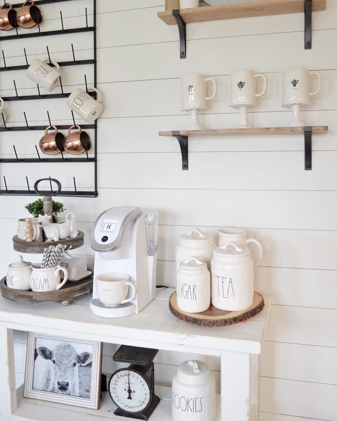 DIY farmhouse style coffee bar coffeebar shiplap
