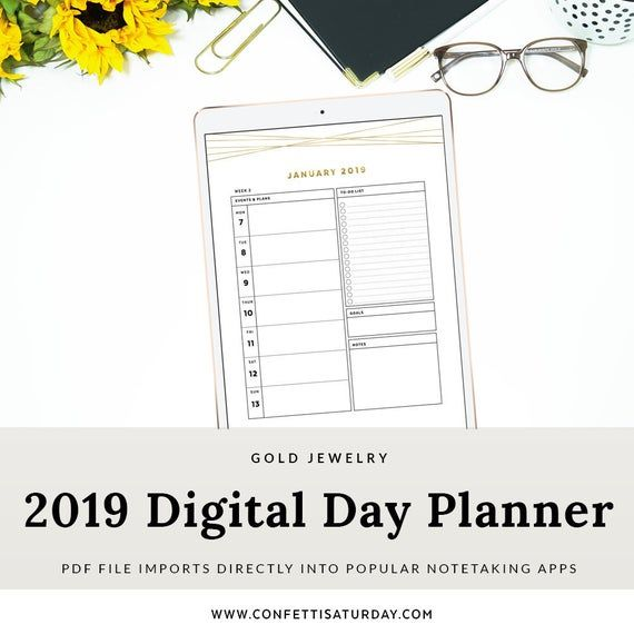 2019 Digital Planner, Gold Dated Day Planner for Goodnotes