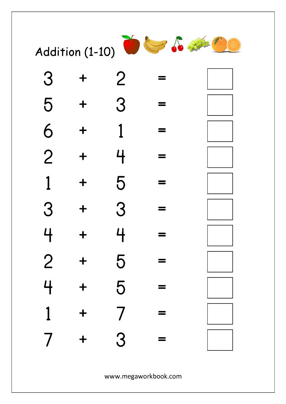 math worksheet addition 1 10 maths worksheets for kindergarten addition worksheets. Black Bedroom Furniture Sets. Home Design Ideas