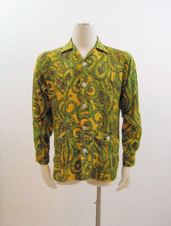 60s shirt vintage mens psychedelic paisley rayon shirt for Mens rayon dress shirts