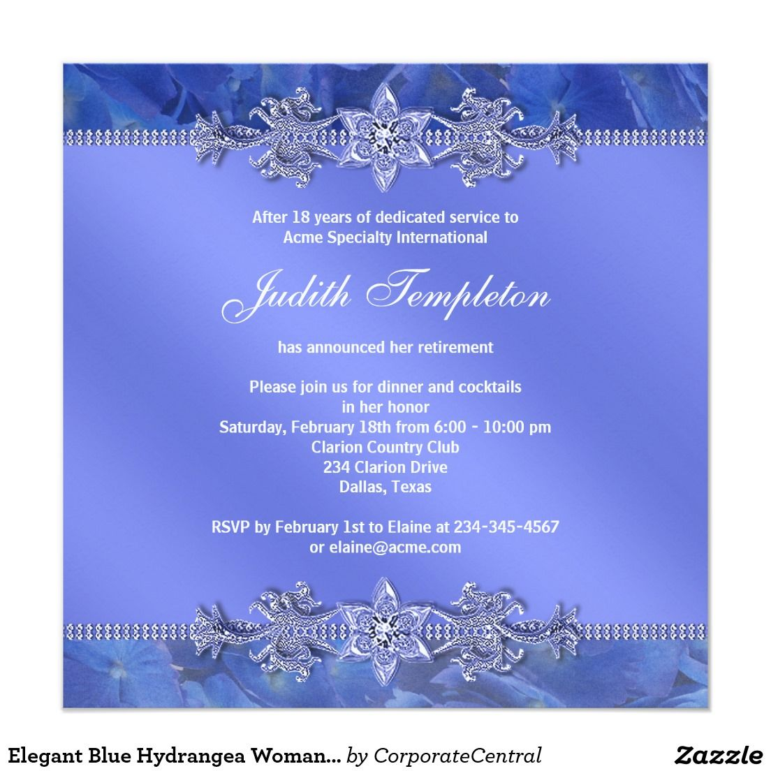 Elegant Blue Hydrangea Womans Retirement Party Card  Retirement