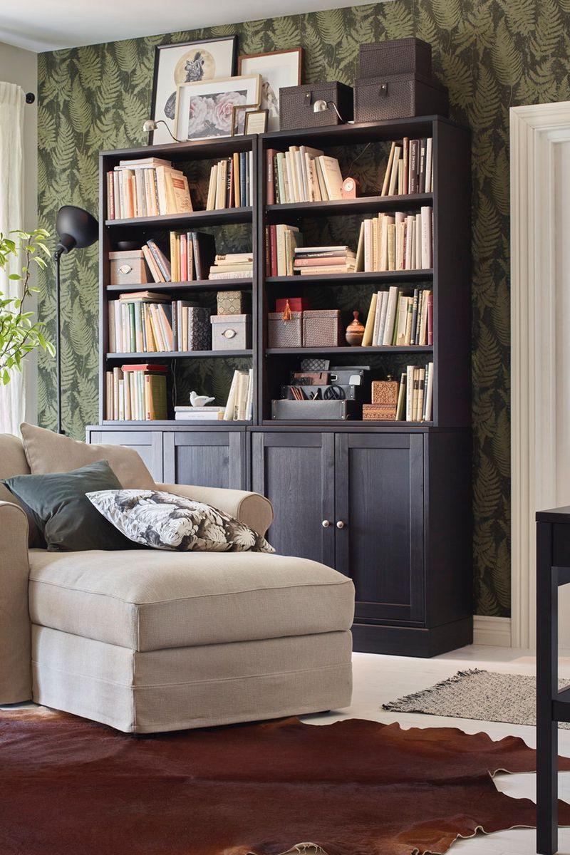 BILLY Bücherregal mit Paneel Vitrtüren schwarzbraun