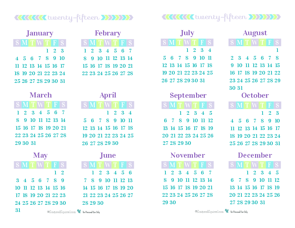 Day 26} 2015 Year on a Page Printable Calendars | Yearly calendar ...