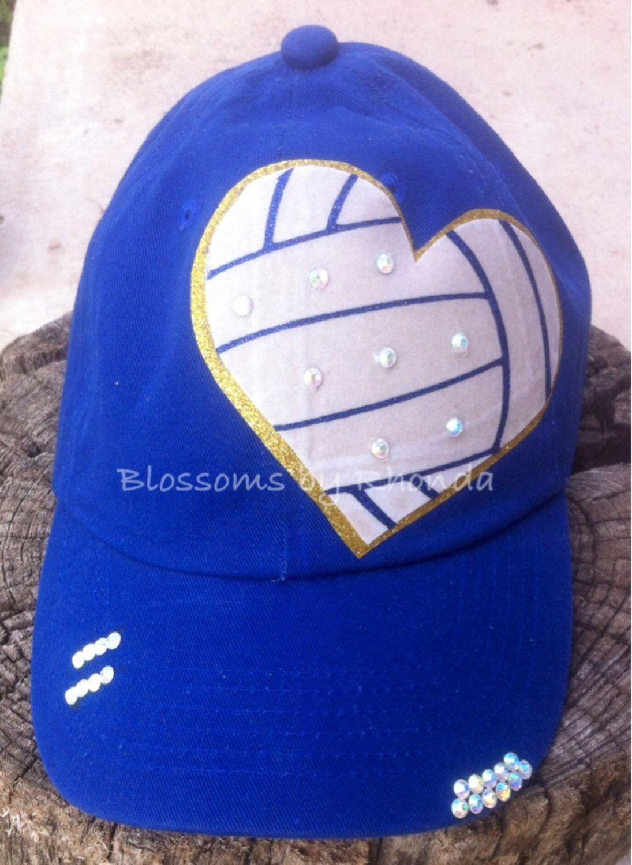 I Heart Volleyball Rhinestone Bling Cadet Trucker Base Ball Cap Personalized By Blossomsbyrhonda On Etsy Womens Hats Baseball Rhinestone Bling Hats