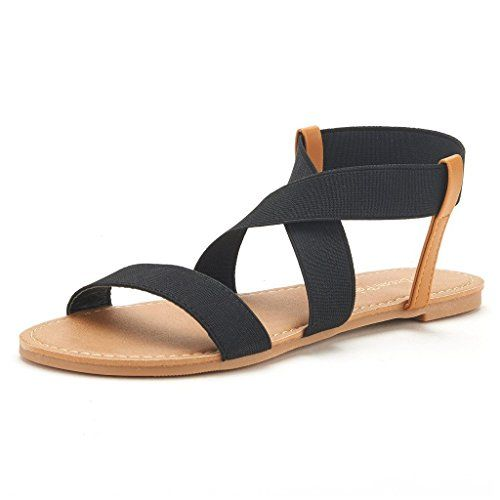 f72a063b0bbc DREAM PAIRS ELASTICA Women Summer Fashion Design Open -Toe Elastic Ankle  Strap Gladiator Flat Sandals BLACK SIZE 8.5