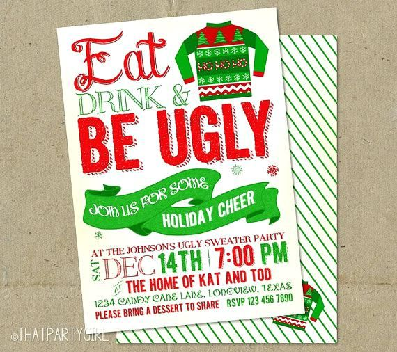 Awe Inspiring Ugly Christmas Sweater Party Invitation Wording Ugly