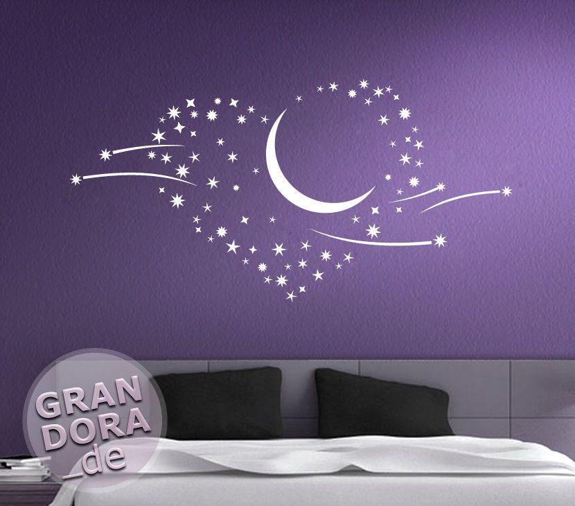 Wandtattoo Sterne Liebe Herz Mond Sternschnuppen W757 Wandtatoo