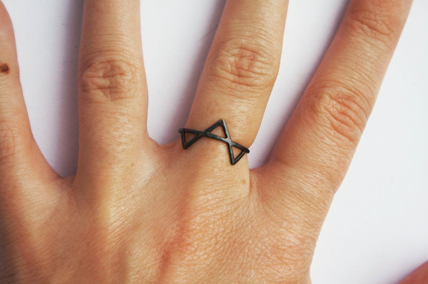 Nose piercing day 3  Black Three Spikes Ring Silver Oxidized Geometric Triangle Ring