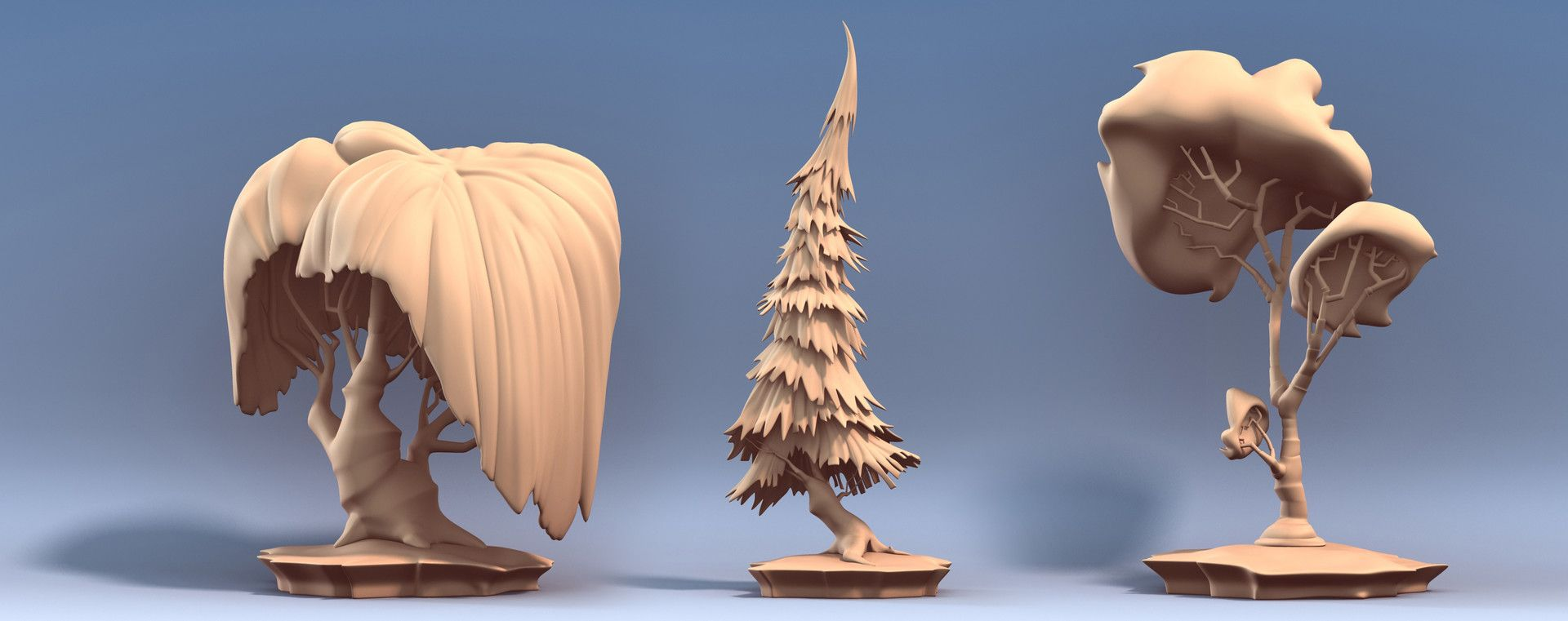 Artstation Tree Sculpts Tyler Bolyard Cartoon Trees Environmental Art Stylized I'm very surprised, that this is never used for a cartoon render. pinterest