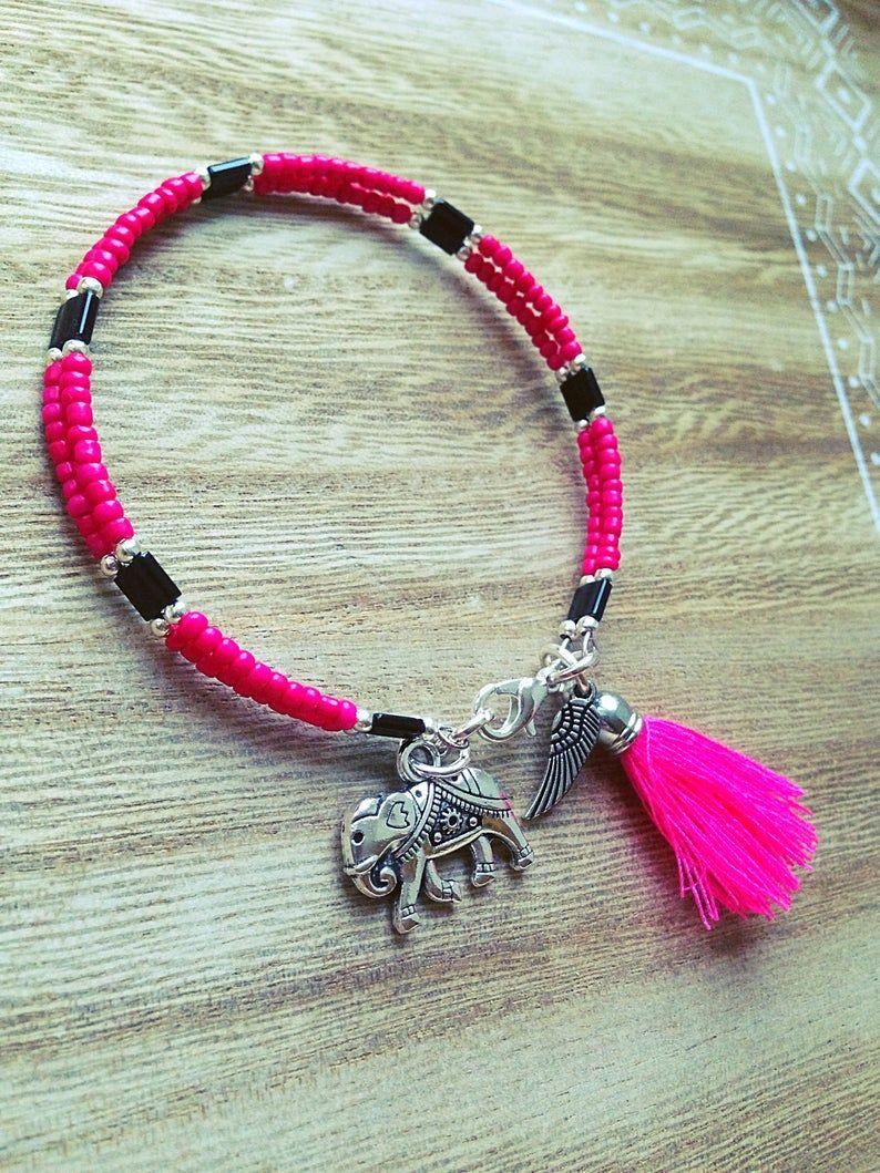 Bracelet femme rose noir argent pompon perle amor | Etsy