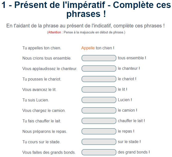 Present De L Imperatif Complete Ces Phrases Exercice Cm2 A Imprimer Imperatif Exercice Math Cm1