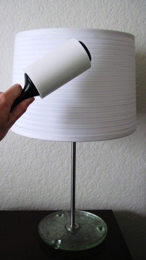 Use a lint roller to clean your lampshades! It's almost ...
