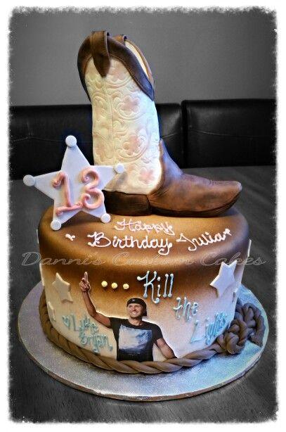Luke Bryan Country Cowboy Boot Cake With Images Themed