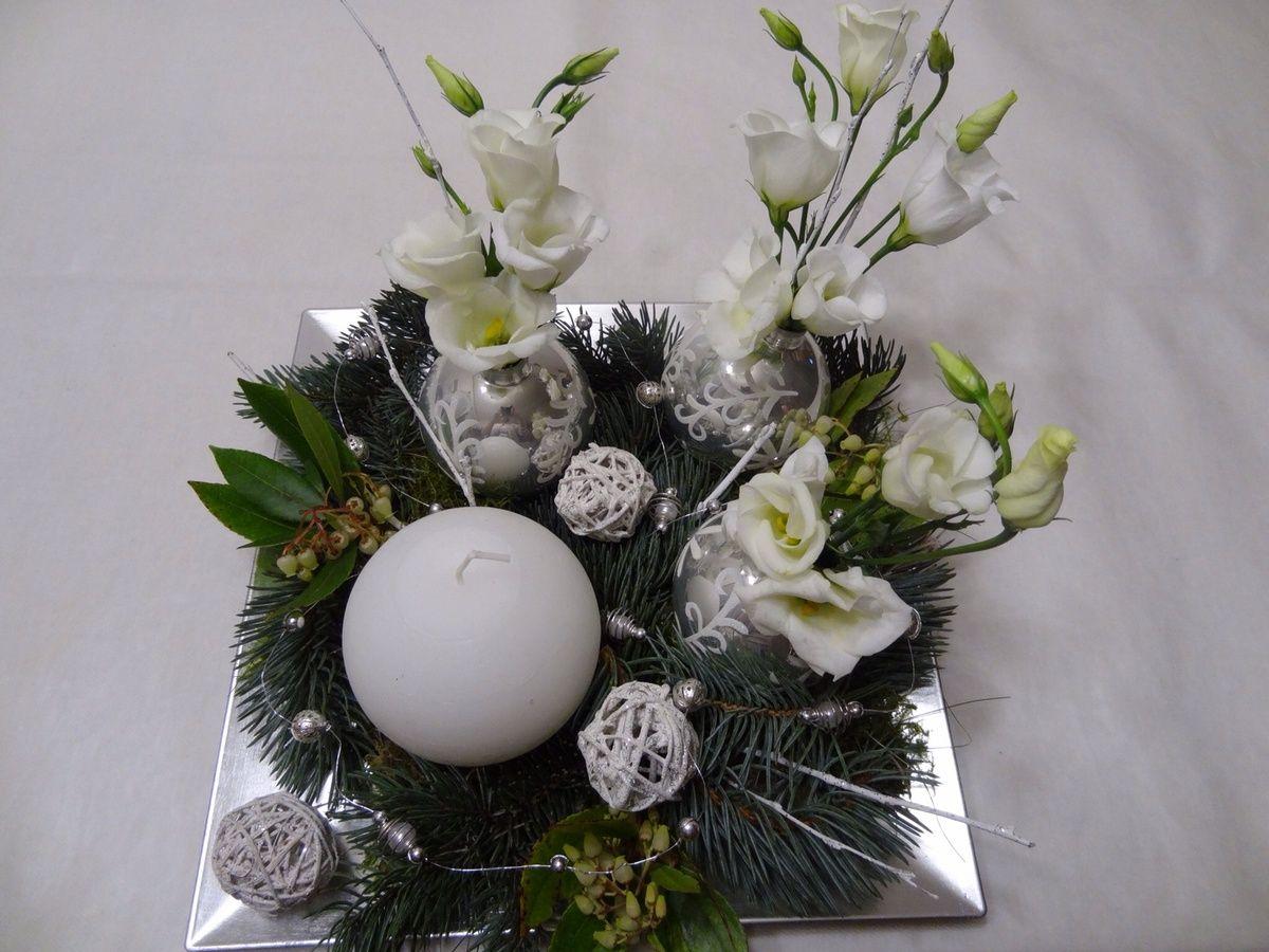 Et celui de nicole dans les tons de blanc et d 39 argent avec for Lisianthus art floral