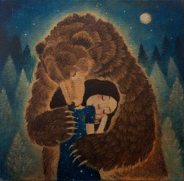 "Limited edition giclée print of original painting by Lucy Campbell - ""Tuesday's bear"" by LupiArt on Etsy"