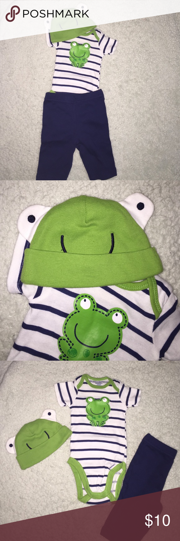 3 piece newborn frog themed matching outfit set Super cute!!! I LOVED this outfit on my son. Perfect condition. Like new. Only worn once. Navy blue and green. Size newborn Gerber Matching Sets