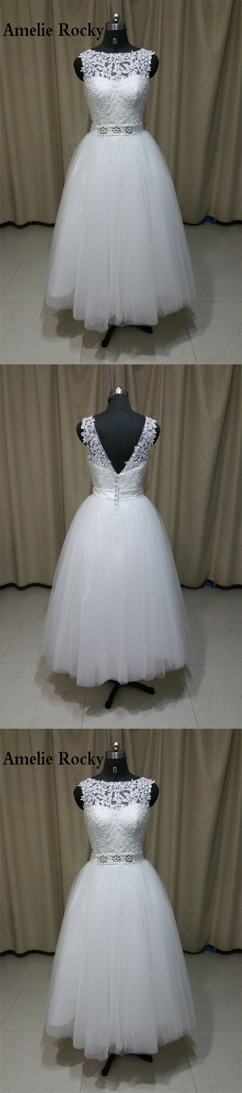 Real photo tea length wedding dress princess bridal dress vintage