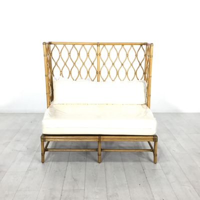 Bamboo Garden Bench . - Stylish bamboo-framed bench with a decorative high backrest and a comfortable seat cushion- Seat height is 20""