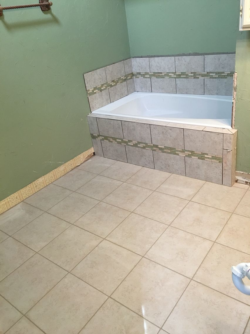 Drop in tub with Surround waiting to be grouted. | Shower & Tubs ...