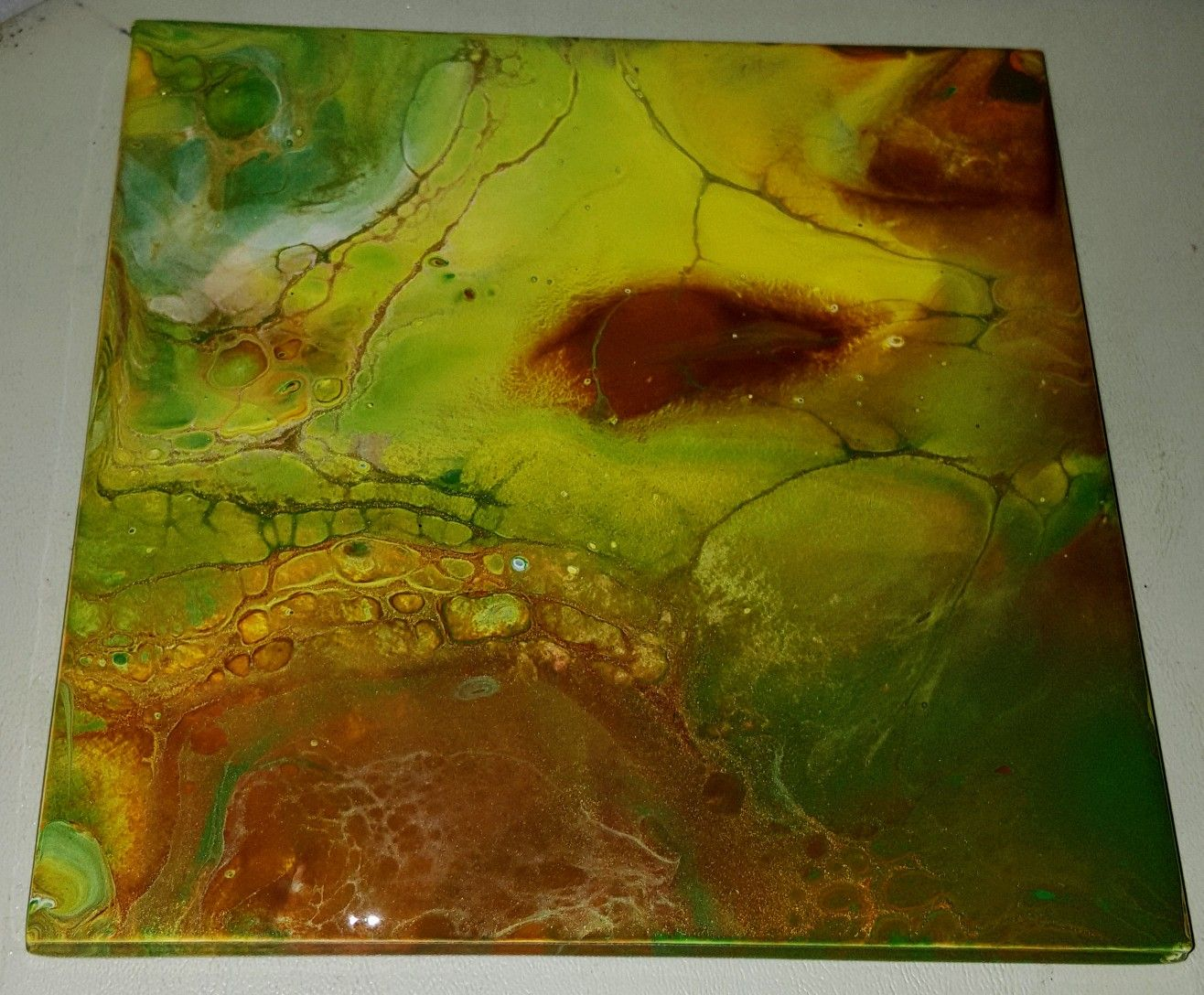6x6 Acrylic Pour Painting With Fda Clear Coat Trivet Or Serving