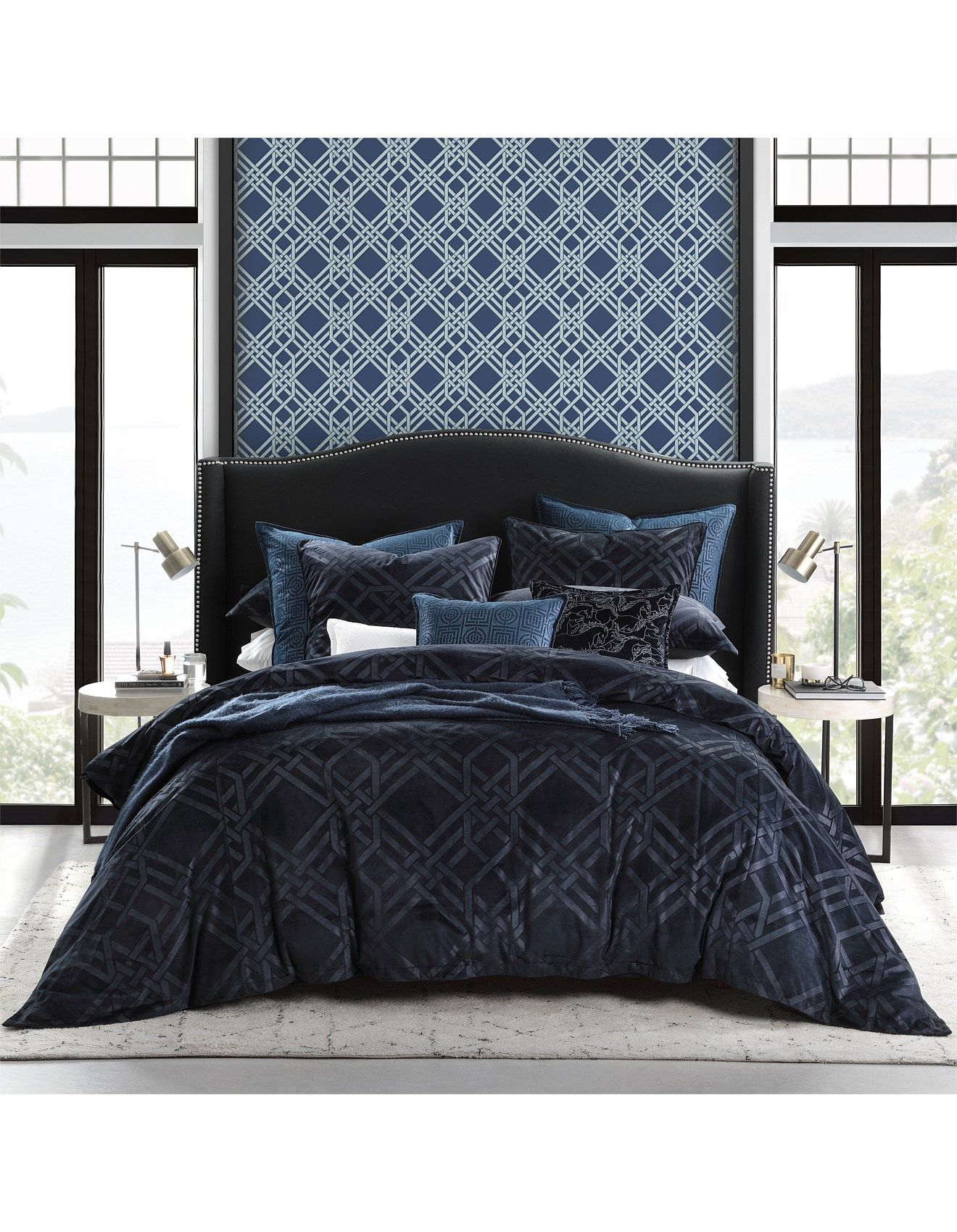 Pagoda Navy Quilt Cover Set King Bed In 2020 Quilt Cover Sets Quilt Cover White Linen Bedding