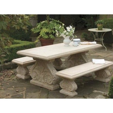 Nice Roman Stone Effect Rectangular Table And Bench Set
