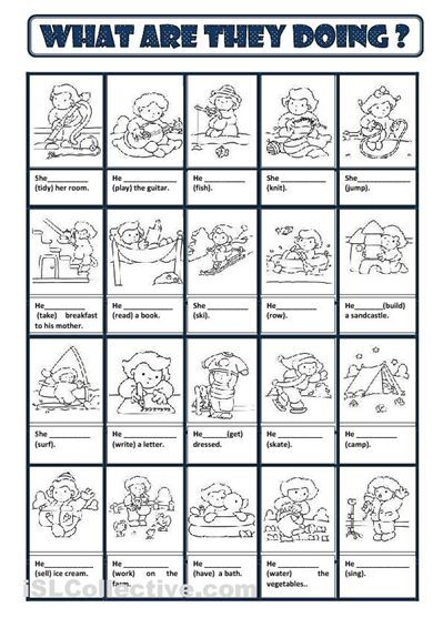 English Activity Worksheets : Present progressive worksheets esl projects to try