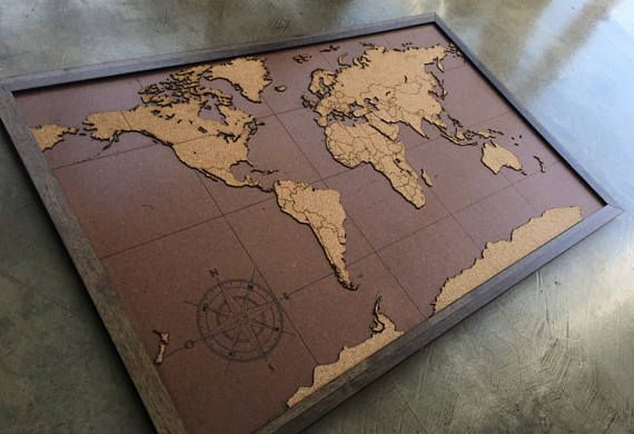 Laser Cut World Map.Lasercut And Handmade Cork Push Pin World Map Wall Art With