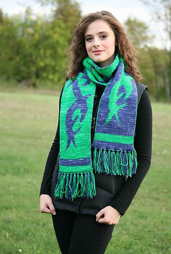 A warm and wooly scarf with a cool and contemporary tribal tattoo design - on both sides! Knit this reversible piece holding just one color yarn at a time, even if you've never done double-knitting before!