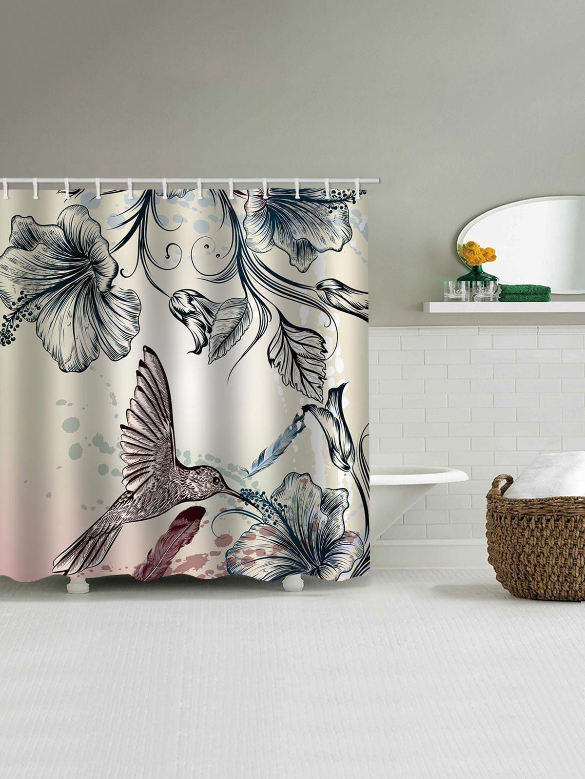 Chinese Birds Flower Print Shower Curtain Curtains Printed