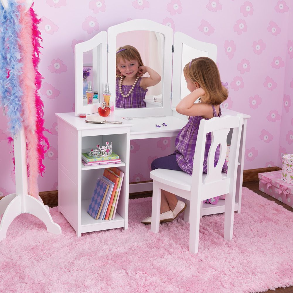 kidkraft deluxe dressing table chair in white costco uk baba 39 s big girl room pinterest. Black Bedroom Furniture Sets. Home Design Ideas