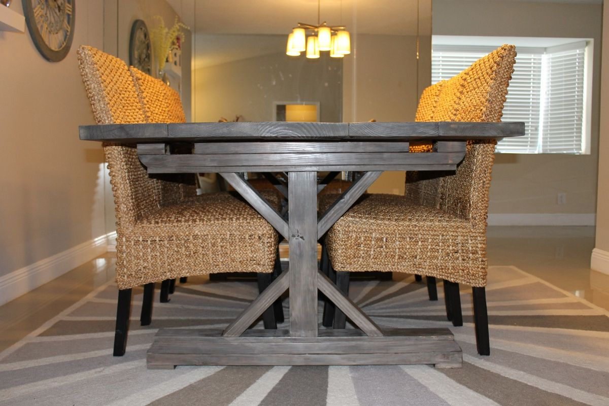 Farmhouse Table And Chairs For 8 Weathered Gray Fancy X
