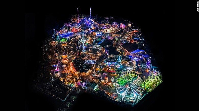 Neon City Aerial Shots Of London By Night Hyde Park Winter - Winter wonderland london map 2016