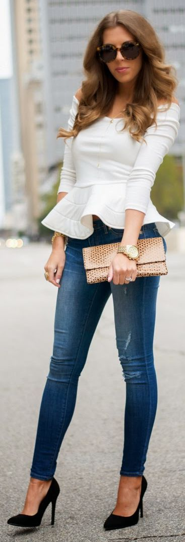 White Off Shoulder Peplum Top.  Great way to dress up jeans & turn a few heads!!