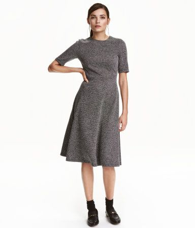 Black/white melange. Calf-length dress in textured, woven ...